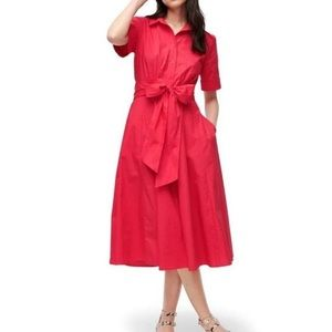 J crew red Tie-waist Shirtdress